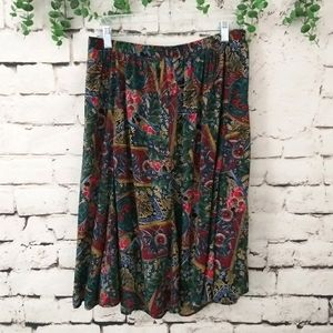 Vintage Abstract Floral Summer Skirt M